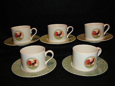 International China Tableworks COUNTRY INN CUPS & SAUCER Lot x 5 Rooster Chicken