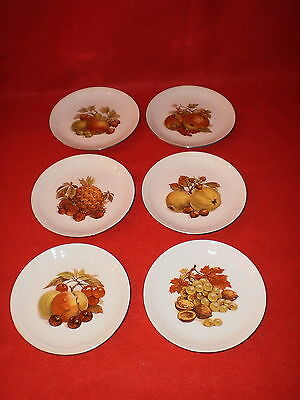 Set Of 6 Kahla Fruit Decoration 7 5/8 inch Desert Plates Germany EUC