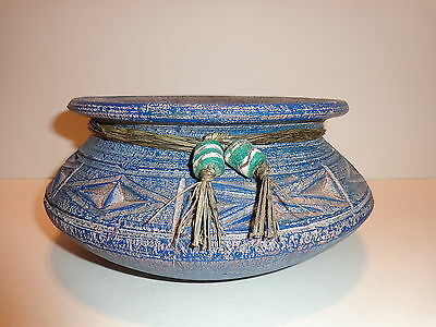 Unique Ceramics GHANA African ART POTTERY Round POT BOWL Blue Primative