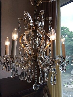 Antique French Cage Chandelier 6 Arm Heavy Frame Glass Crystals Beautiful