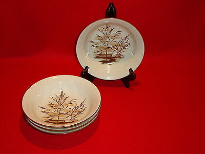 """Mikasa Stylemanor """" Dune Grass """" FD832 Lot Of 4 Coupe Soup Bowls Perfect Cond."""