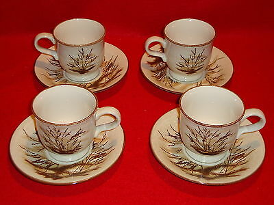 """Mikasa Stylemanor """" Dune Grass """" FD832 Lot Of 4 Cups and Saucers  Perfect Cond."""