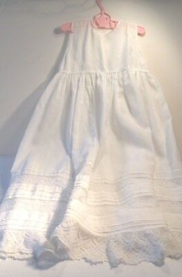 Antique  Long Cotton Lace Baby Christening Gown Dress Pin-Tucking Sweet!