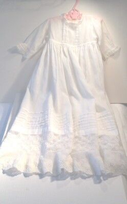 Vintage Long White Lace & Tucks Christening Gown