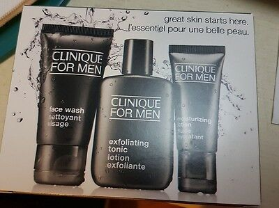 CLINIQUE FOR MEN Great Skin Starts Here 3 Piece Trial  Kit Set Face Wash Travel