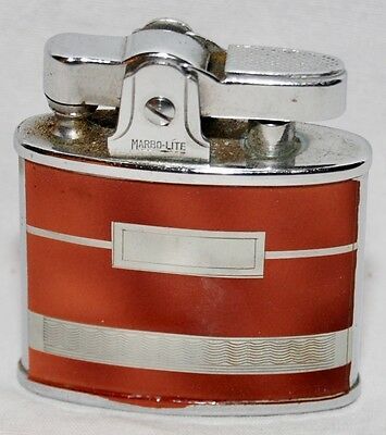Vintage Marbo-Lite Automatic Cigarette Lighter, With Box, Silver & Brown, Japan