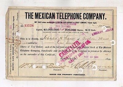 Original Stock Certificate 100 shares  The Mexican Telephone Compnay 1899 issue