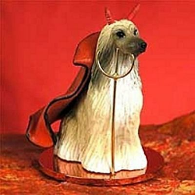 Afghan Hound Tan White Devil Dog Holiday Ornament Tiny Ones Statue Figurine NEW