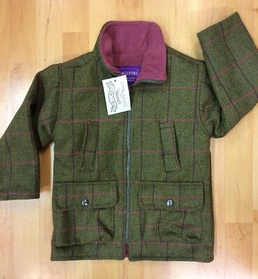 Children's Tweed Jacket sage green - with Pink fleece Linings - Shire Classics
