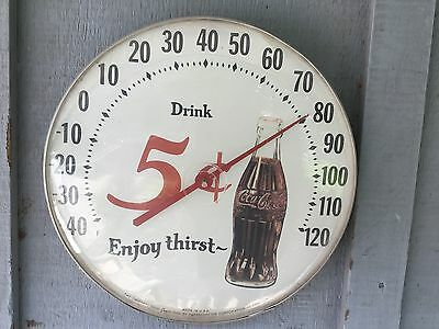"COCA COLA  Advertising Vintage 12"" Round 5 Cent Jumbo Dial themometer"