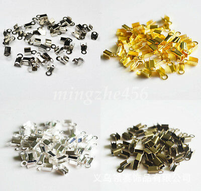 Wholesale 200Pcs Small Cord End Tip Fold Over Clasp Crimp Bead Connector 2.5x6mm