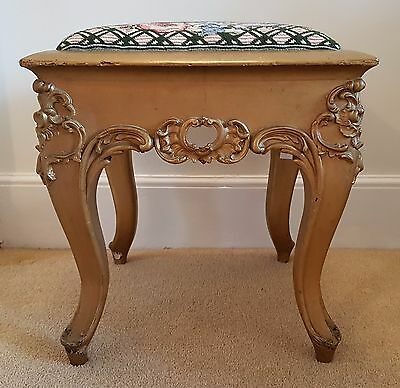 Vintage French Louis XV Style Shabby Chic Dressing Stool With Needlework Seat
