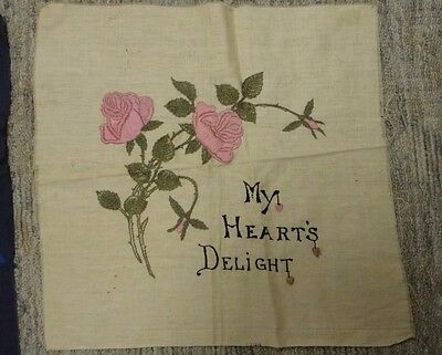 Antique embroidered quilt block pillow block satin stitch on linen 20X21 inches