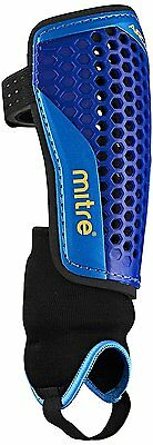 Mitre Aircell Carbon Ankle Protect Football Shin Pads - Blue/Cyan/Yellow, Large
