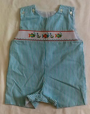 NWT Hand Smocked Jumpsuit Romper striped Fishes 9M by Cukees