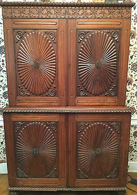 Antique Anglo-Indian Hutch. Teak Wood w/ Beautiful Hand-carved Detailing. CA1860