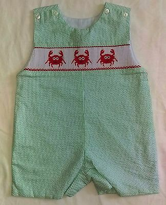 NWT Hand Smocked Jumpsuit Romper striped crabs  24M by Cukees
