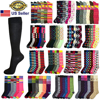 6 12 Pairs Women Girls Knee High Multi Color Fashion Fancy Design Socks 9-11