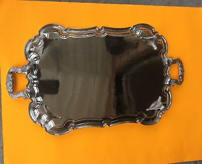 vintage Silverplate bulters Handle footed Serving Tray Platter