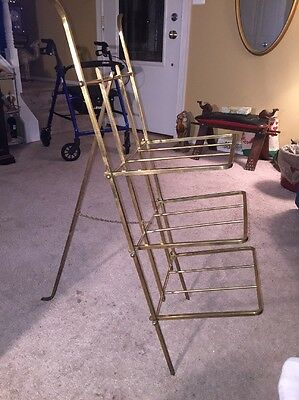 Mid Century Vintage Brass Folding Collapsible Easel Magazine Stand (RARE)