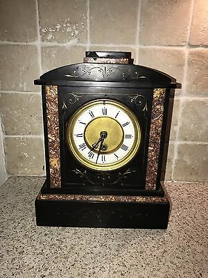 ANTIQUE FRENCH BLACK SLATE & MARBLE MANTLE CLOCK GILDED INLAY 1890s FREE POSTAGE