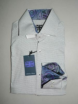 Michelsons London Men's White Slim Fit Long Sleeve Dress Shirt NWT Size S TS157
