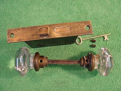 Vintage/Antique Brass Mortise Lock With Key and Octagon Crystal Knobs