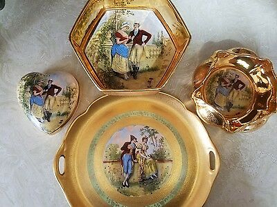 Antique Osbourne China Hand Painted 22 KT. Gold