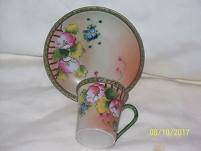 Demitasse Cup And Saucer Hand Painted - Japan