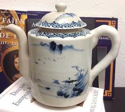 Blue & White Chinese Porcelain Teapot w Landscapes