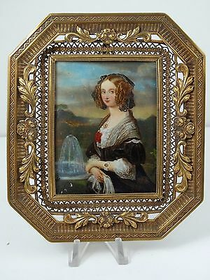 Antique French Ormolu Bronze Miniature Frame Portrait Hand Painting Signed Dupre