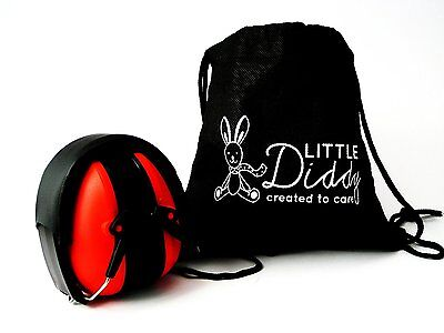 Little Diddy Kids Ear Defenders-Carry Bag Included- Colour Red