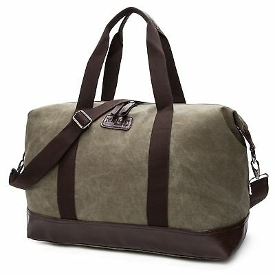 Men Canvas Vintage Handbag Gym Travel Shoulder Sport Luggage Duffle Bag Green