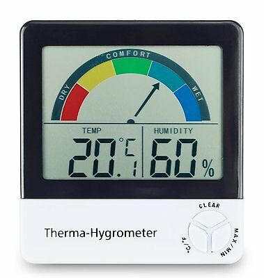 Healthy living thermometer & hygrometer with comfort zone indication