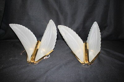 Pair of 2 Progress Lighting MCM Modern Style Brass & Frosted Glass Wall Sconces