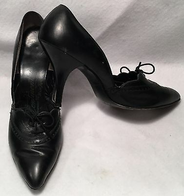 c.1940s CONTINENTAL Black Leather Lace-Up Toe Slim Heel Dancing Pumps - Sz. 7.5