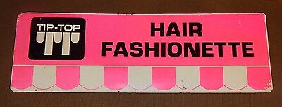 RARE old metal Tip Top Hair Fashionette Advertising Store Display Sign