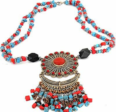 ETHNIC NECKLACE -Ornate, coral and turquoise colour $79.99