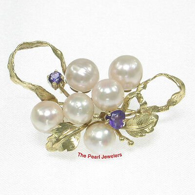 14k Yellow Gold Set 6 Pieces of Akoya Pearls &Two Amethysts Brooch 7 Gram TPJ