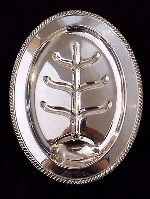 Vintage Oval Sheffield Silver Co SILVER PLATED FOOTED MEAT SERVING PLATTER TRAY