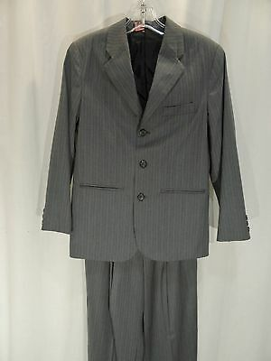 Van Heusen~MINT!!~BOY'S 14 REG LIGHT GRAY PINSTRIPE 3 BUTTON SUIT-PLEATED PANTS