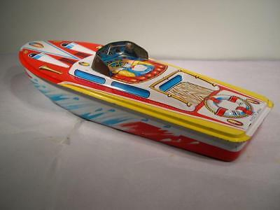 Tin Litho Speed Boat No 2 by ST Toys Made in Japan Nice Vintage Condition