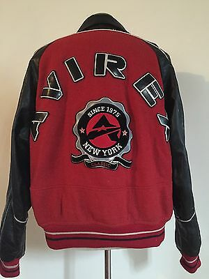 Vintage Avirex New York Red And Black Leather And Wool Varsity Jacket Xl