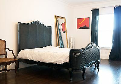 Stunning French Louis Cane QUEEN Bed in Black Lacquer w/ Cabriole Legs