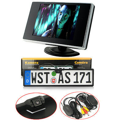 "Kit Wireless 170 ° Auto PAL Retromarcia Telecamera Portatarga+Monitor 3.5"" LCD"