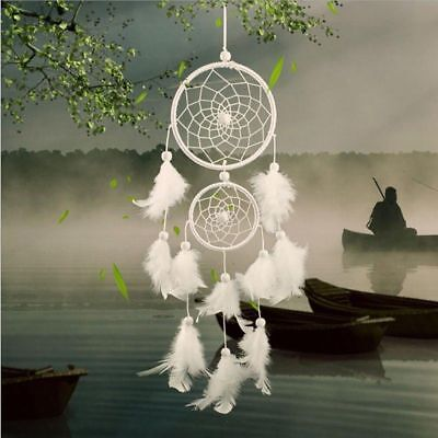 Handmade Dream Catcher with Feather Wall Car Hanging Decoration Ornament White