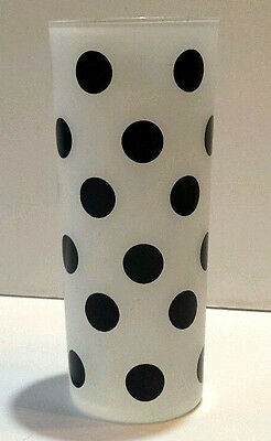 Vtg Frosted White, Black Polka Dots Tall Barware Glass Tom Collins Replacement