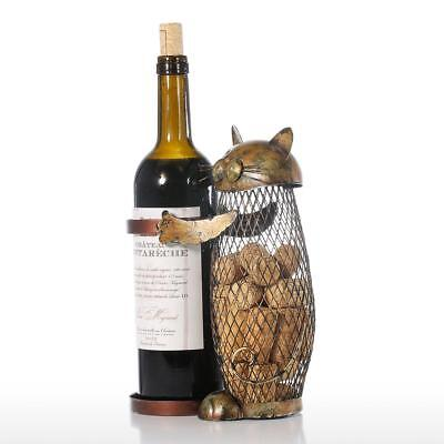 Tooarts holder Cork Container Art Iron Craft Home Animal Ornament Cat Wine L8D1