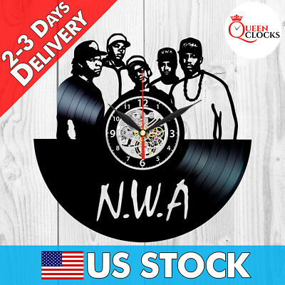 NWA Straight Outta Compton Vinyl Record Wall Clock LP Home Room Decor Best Gift