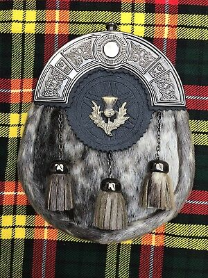 Scottish Kilt Sporrans Seal Skin Thistle Badge Antique Finish/Mens Kilt Sporran